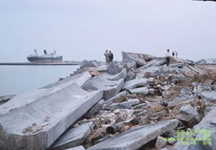 Seawall damage from Typhoon Vera